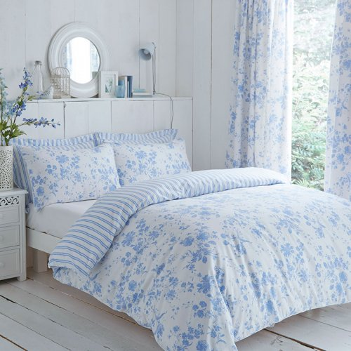Blue Amp White Floral Etoile Reversible Duvet Cover Set Curtains
