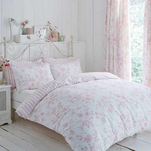 Pink Amp White Floral Etoile Reversible Duvet Cover Set Curtains