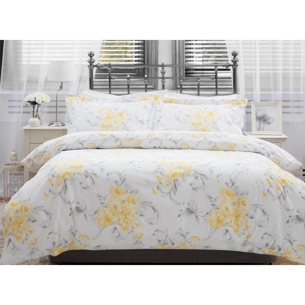 100% Cotton Duvet Cover Set Grey & Yellow Floral Design