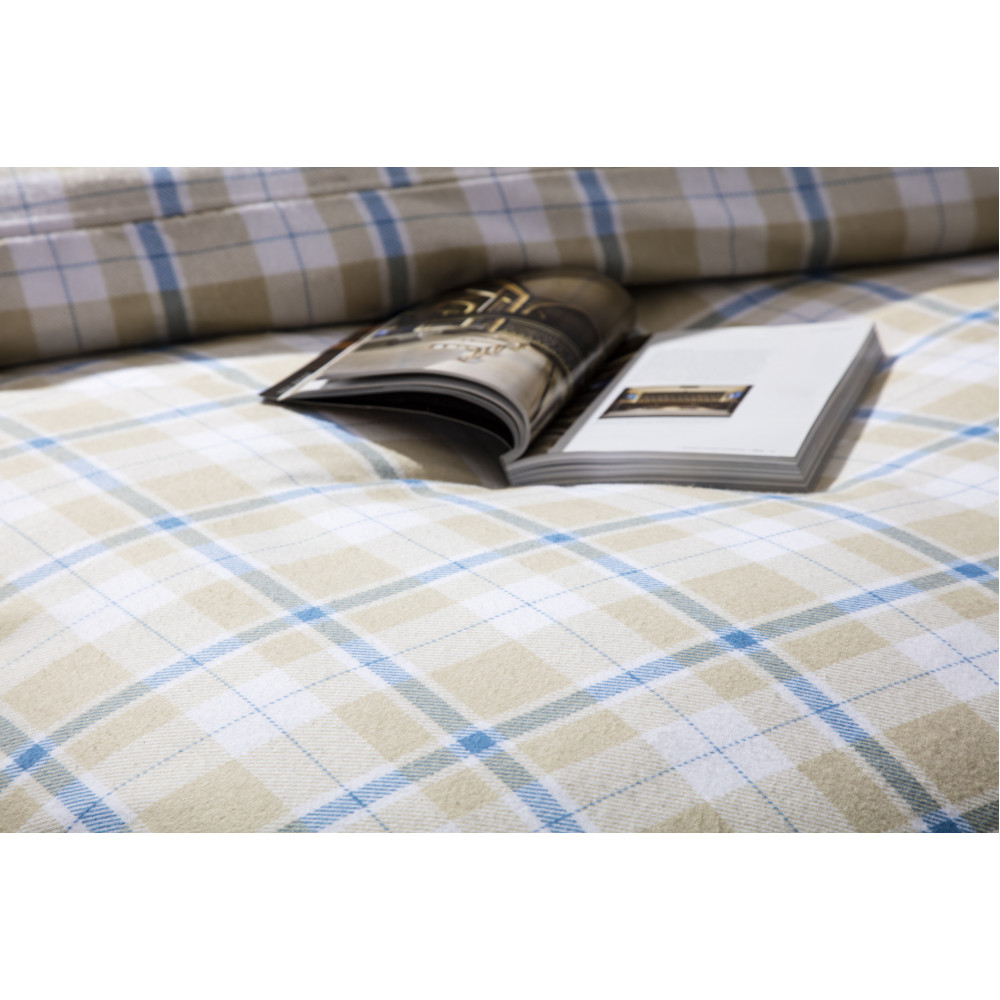 Check Brushed Cotton Duvet Cover Set in Cream, White & Blue