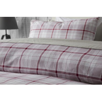 Check Brushed Cotton Duvet Cover Set in Pink White & Red Check