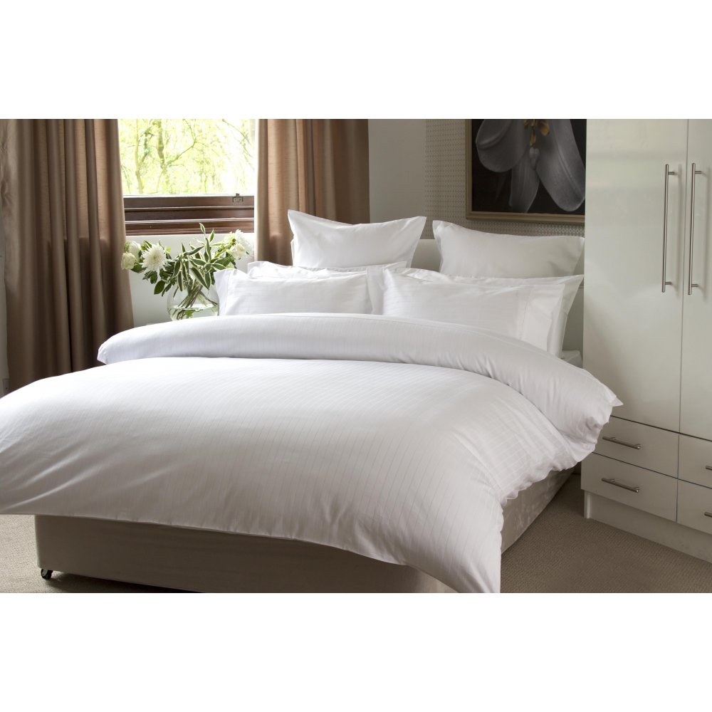 100% Egyptian Cotton Broad & Narrow Stripe Duvet Cover Set in White