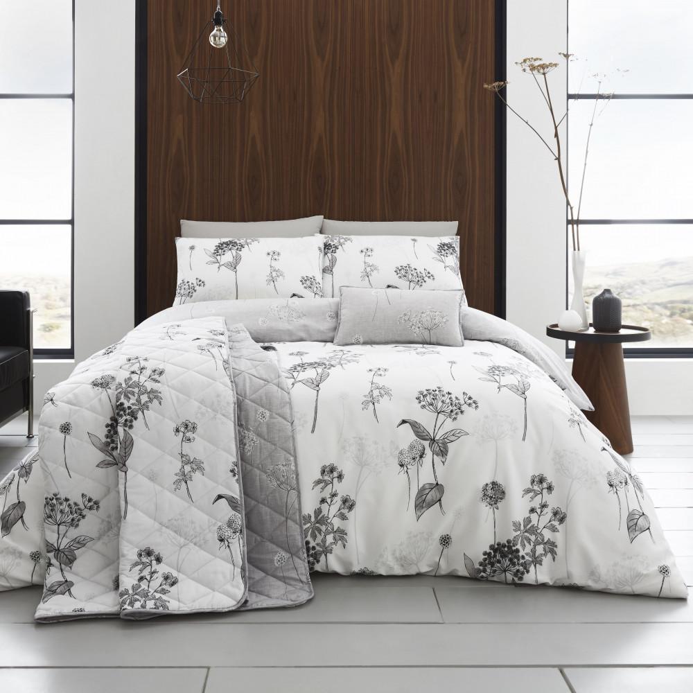 200 Thread Count Floral Duvet Cover Set  Grey