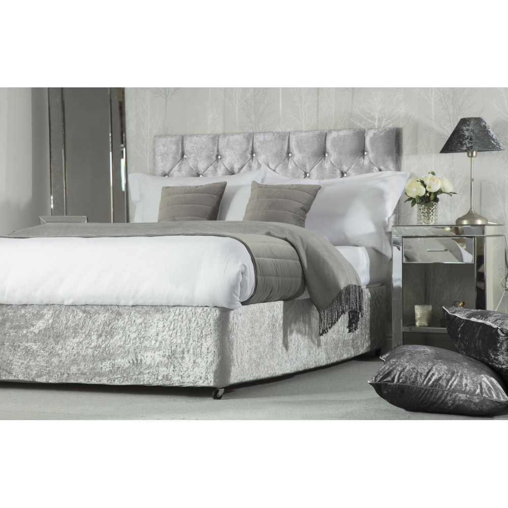 Crushed Velvet Divan Bed Base Wrap in Silver Grey