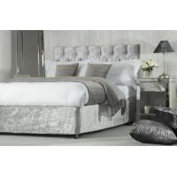 Crushed Velvet Divan Bed Base Wrap in Silver Grey