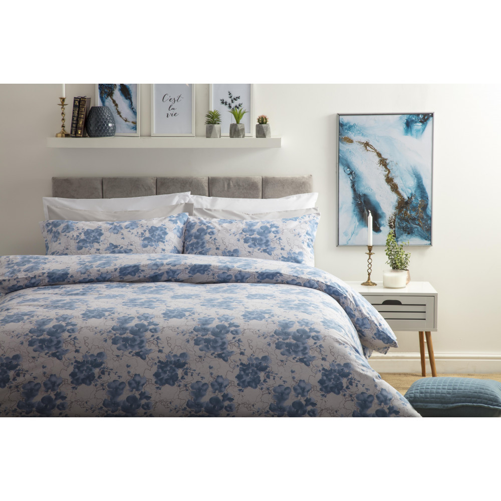 Inky Floral Print Design Duvet Cover Set in blue on a Grey Background