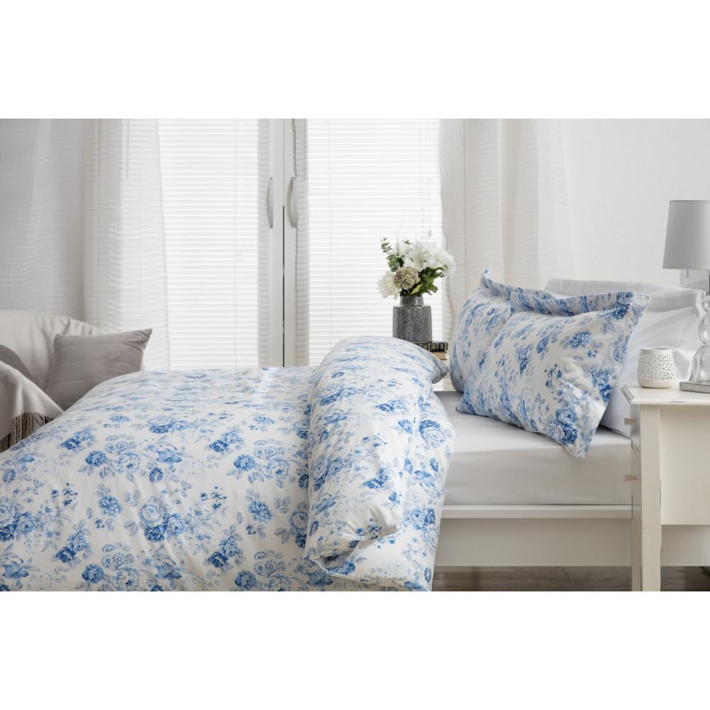 100% Cotton Duvet Cover Set Blue Floral Design