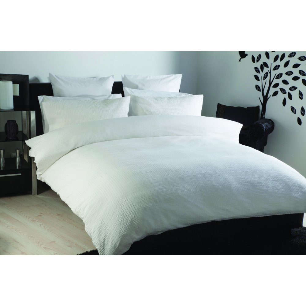 100% Cotton Textured Duvet Cover Set in White