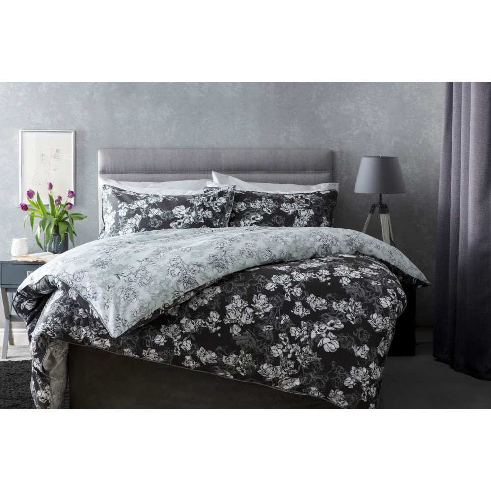 100% Cotton Sateen Floral Reversible Duvet Cover Set in Charcoal