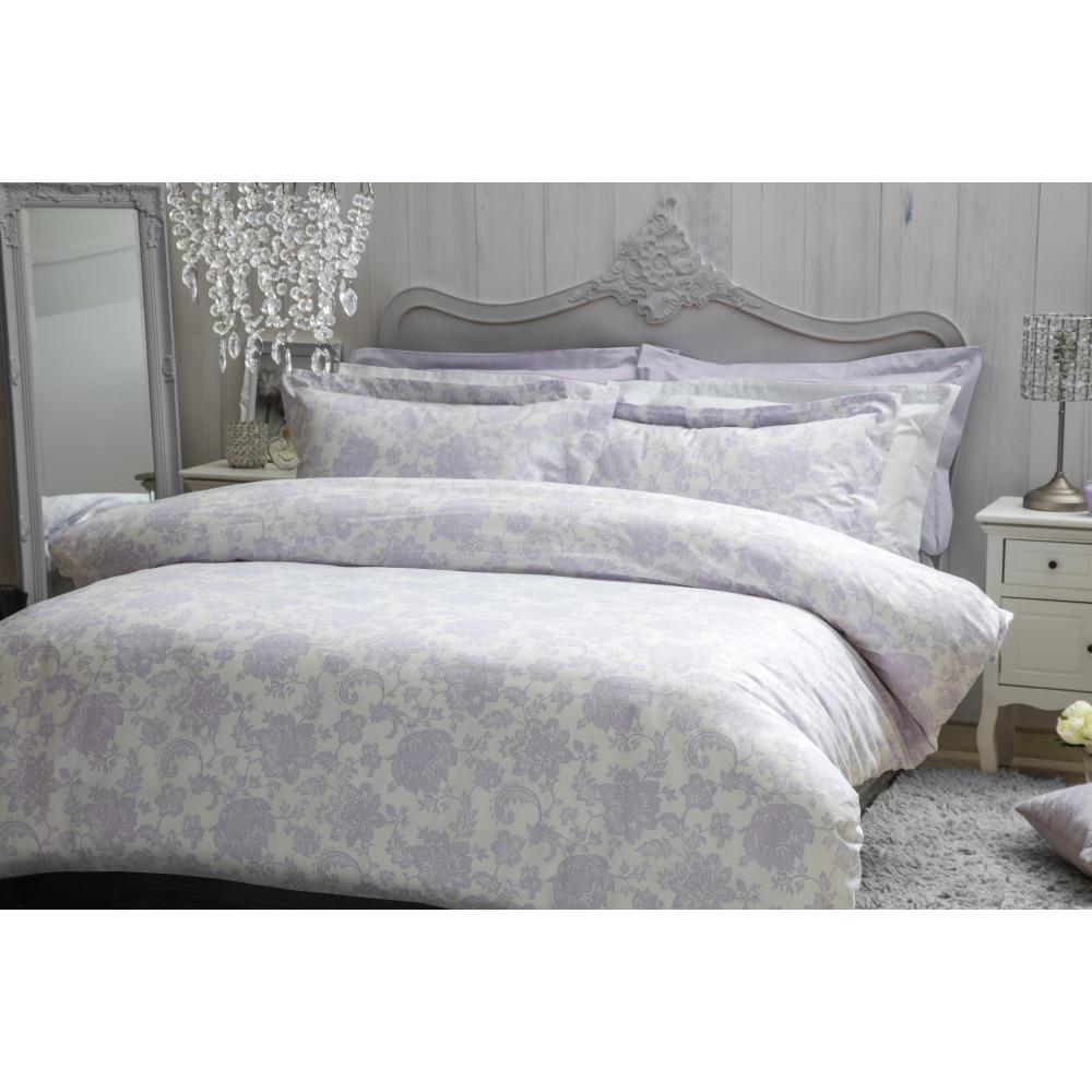 100% Cotton Duvet Cover Set Lilac Floral Design