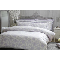 100% Cotton Duvet Cover Set Lilac Floral Design