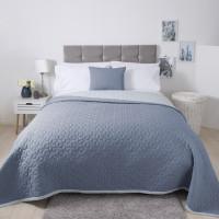 Lightly Quilted Bed Runner / Bedspread Reversible Blue