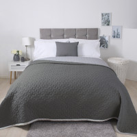 Lightly Quilted Bed Runner / Bedspread Grey Reversible