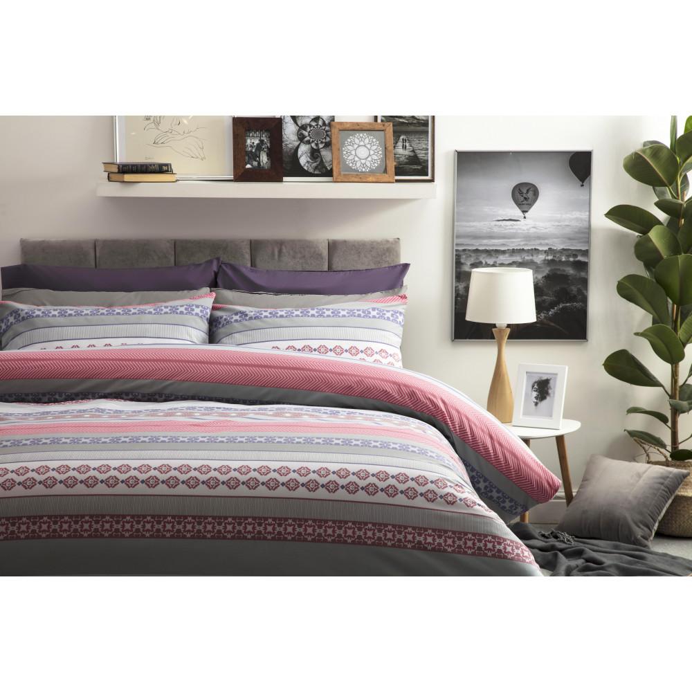 Geometric Print Design Duvet Cover Set in Red Purple & Grey