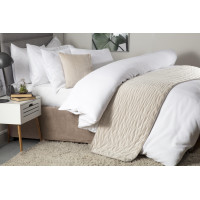 Quilted Faux Suede Bed Runner in Linen