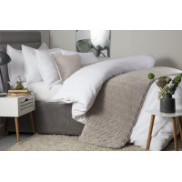Quilted Faux Suede Bed Runner in Mink