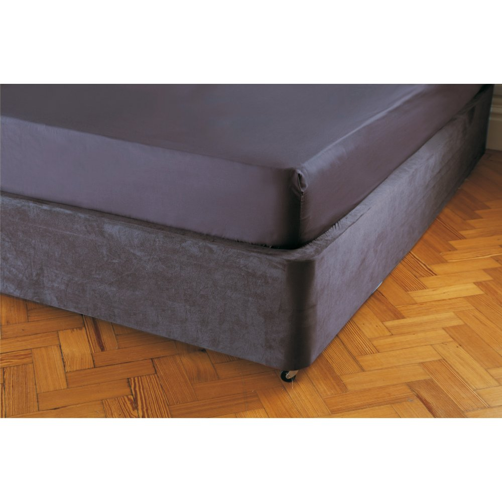 Faux Suede Divan Bed Base Wrap in Charcoal Grey