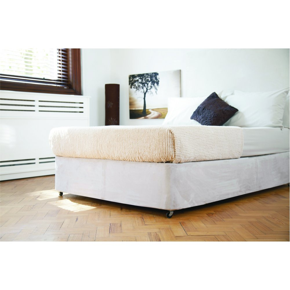 Faux Suede Divan Bed Base Wrap in Linen Beige