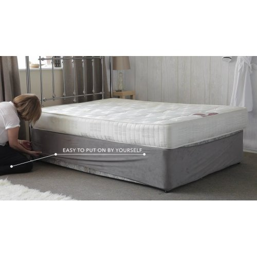 Belledorm divan bed base wrap in charcoal grey for Divan double bed base