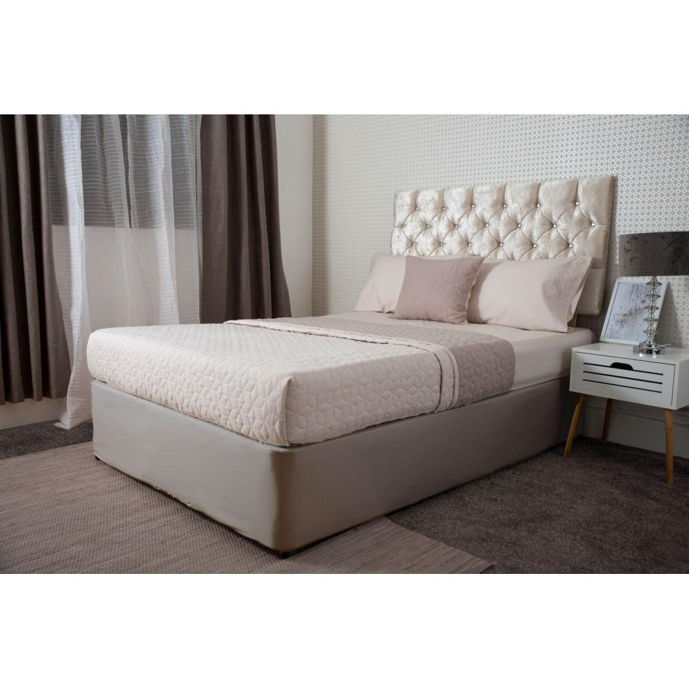 Jersey Cotton Divan Bed Base Wrap in Linen Beige