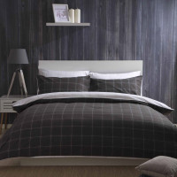 Reversible Brushed Cotton Check Duvet Set in Charcoal & White