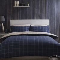 Reversible Brushed Cotton Check Duvet Cover in Navy & Ivory
