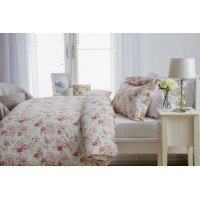 100% Cotton Duvet Cover Set Pink Floral Design
