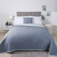 Lightly Quilted Bed Runner / Bedspread Reversible Blue