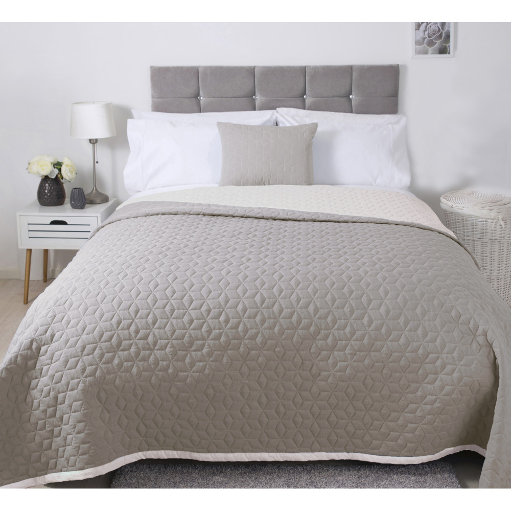 Lightly Quilted Bed Runner / Bedspread Natural Reversible