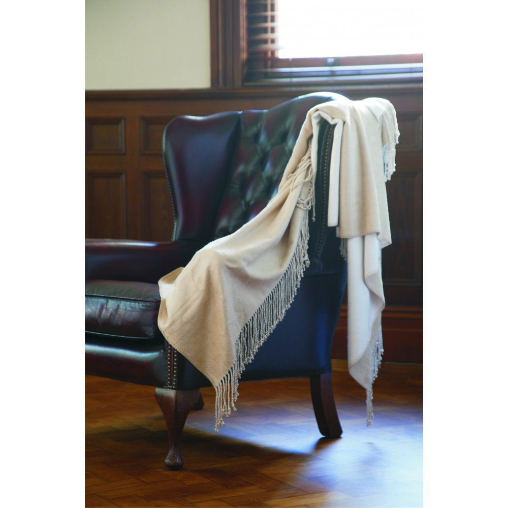 Two Toned Fringed Bamboo Throw