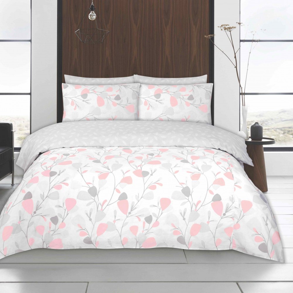 Twin Pack Duvet Cover Sets Blush Pink & Grey