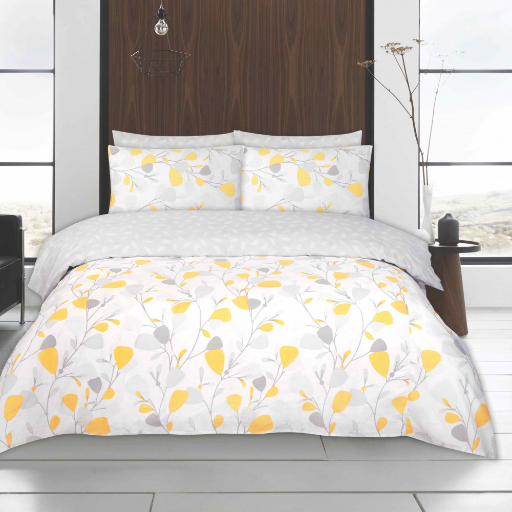 Twin Pack Duvet Cover Sets Yellow & Grey