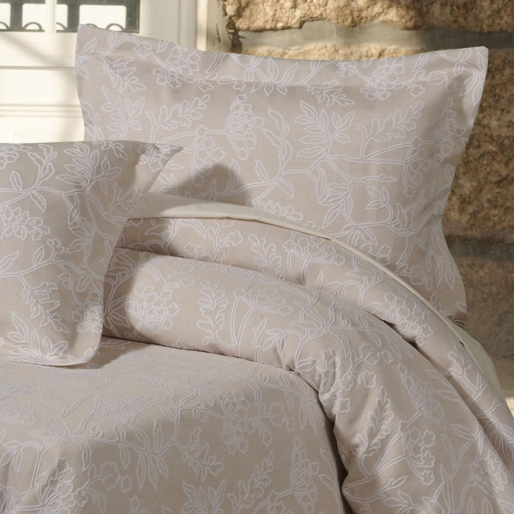 100% Cotton Jacquard Floral  Duvet Cover in Linen Beige