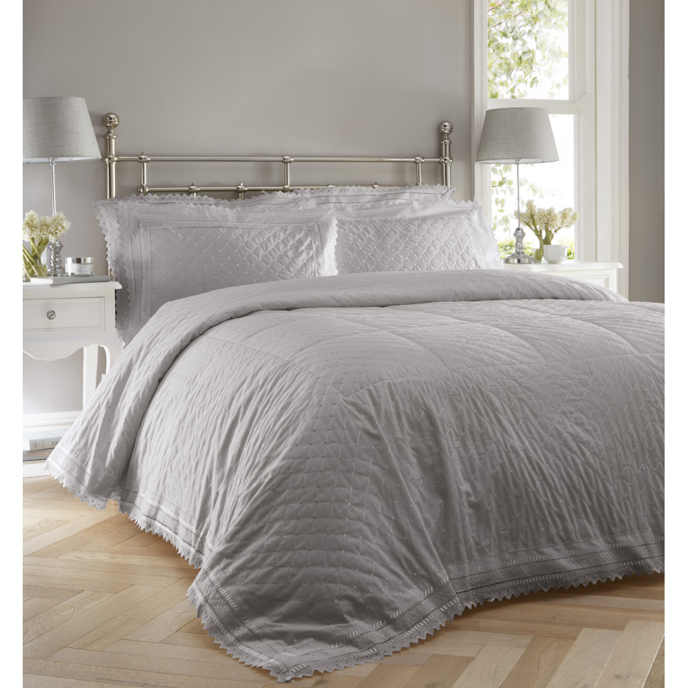 Traditional Broderie Anglaise Bedspread Set in Silver Grey