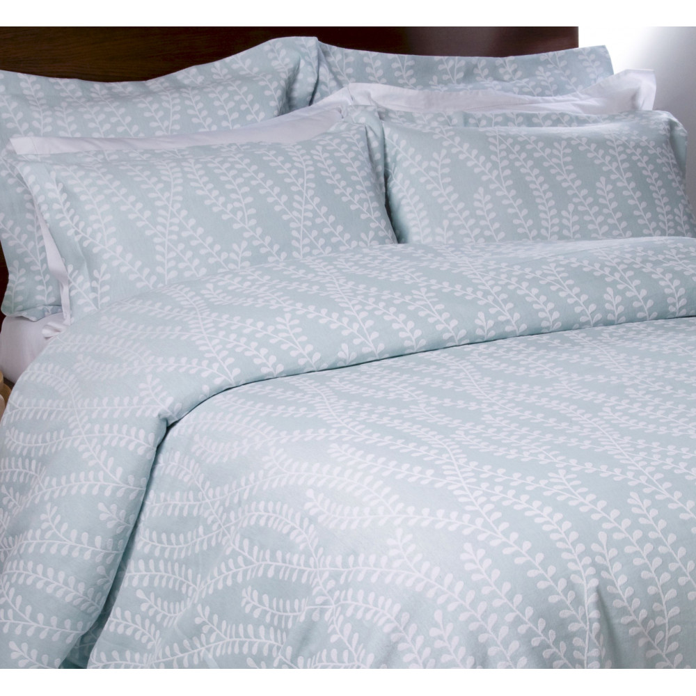 100% Cotton Jacquard Design Duvet Cover in Duck Egg