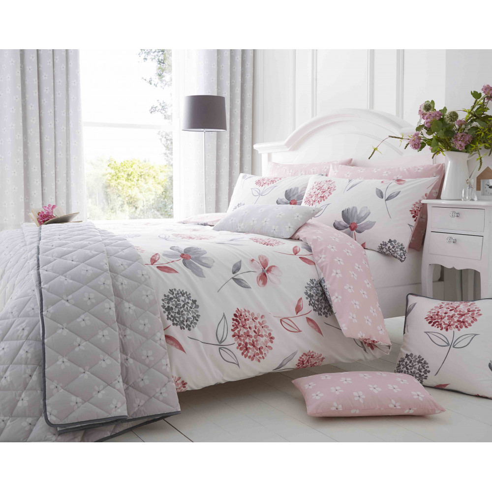 200 Thread Count Floral Duvet Cover Set Pink & Grey