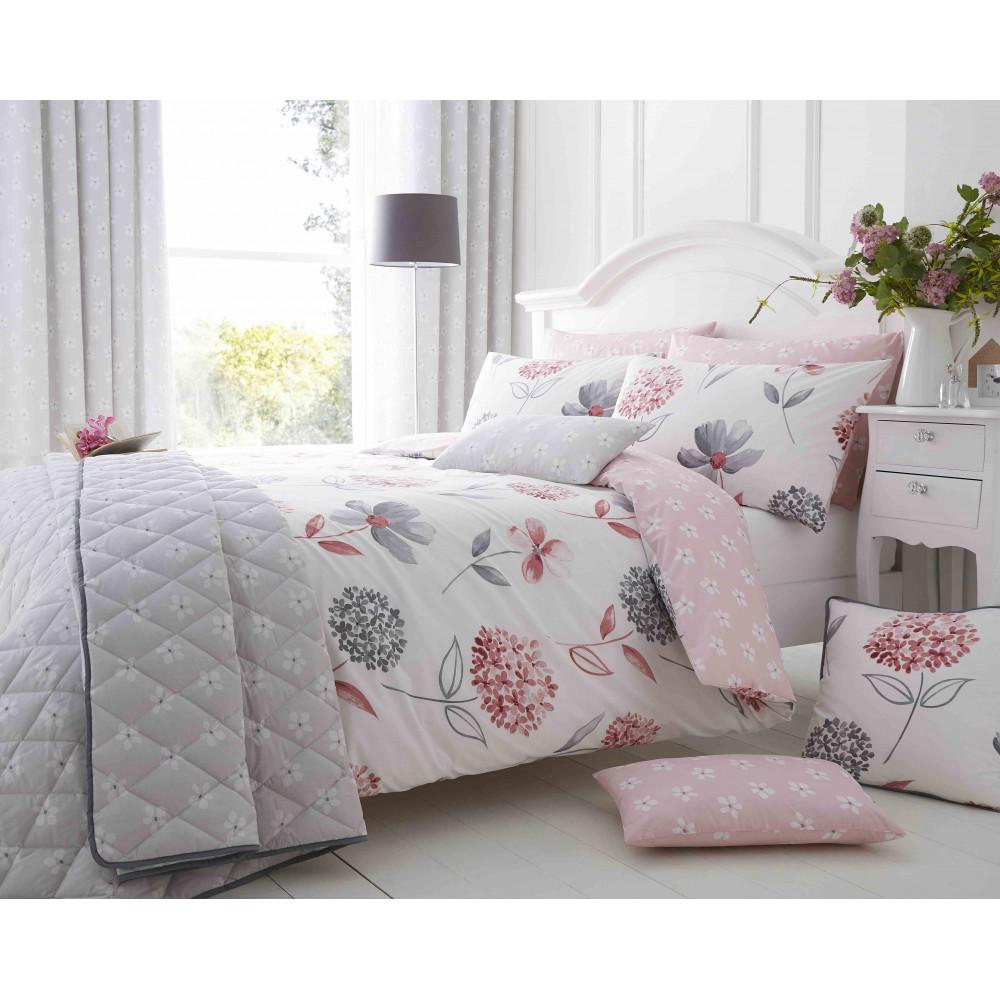 200 Thread Count Floral Duvet Cover Set Pink & Grey