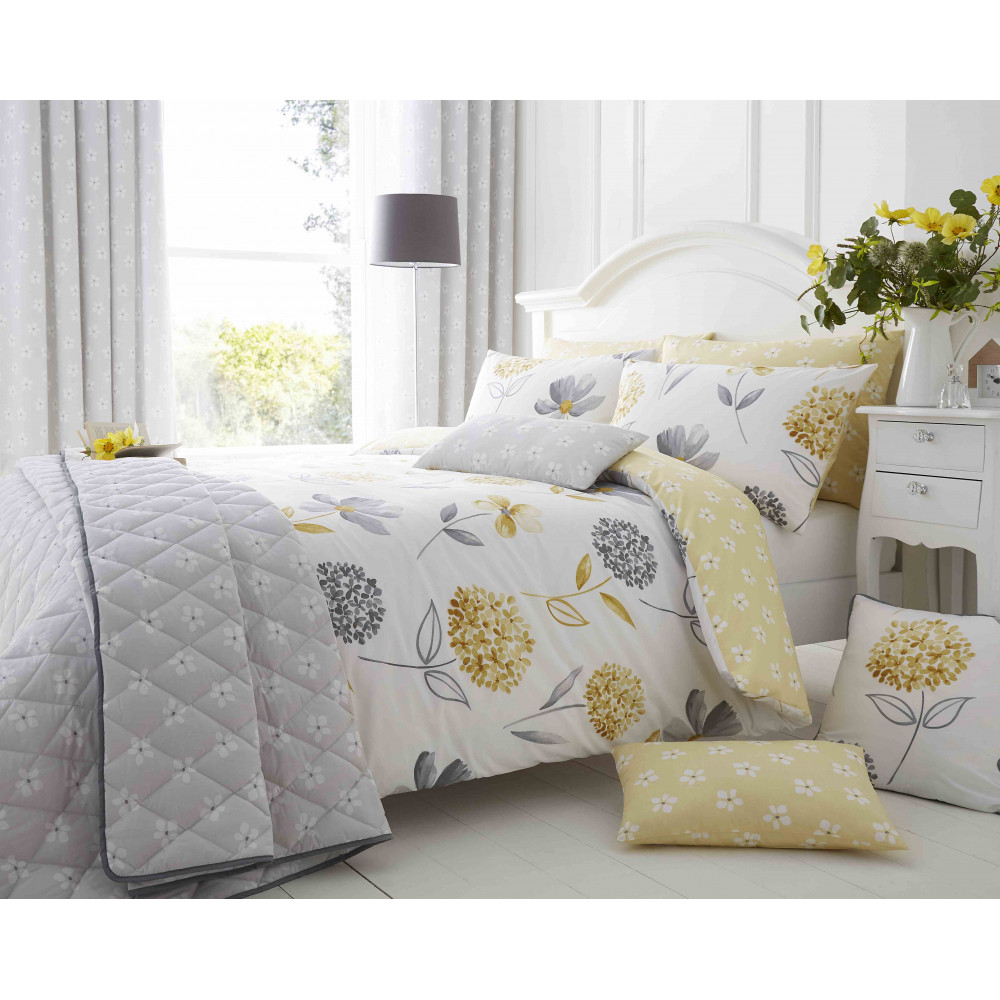 200 Thread Count Floral Duvet Cover Set Yellow & Grey