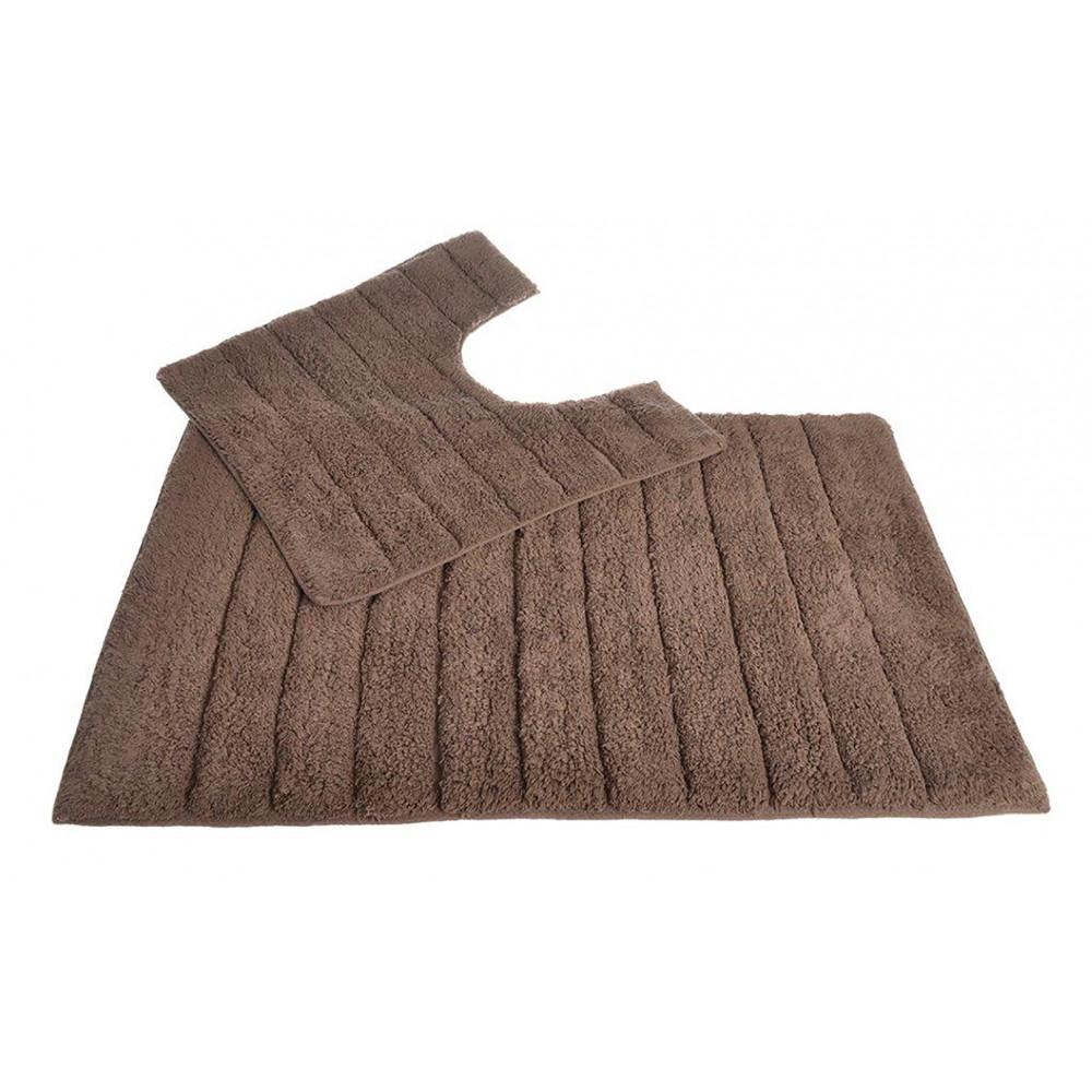 100% Cotton Two Piece Linear Rib Bath and Pedestal Mat in Mocha