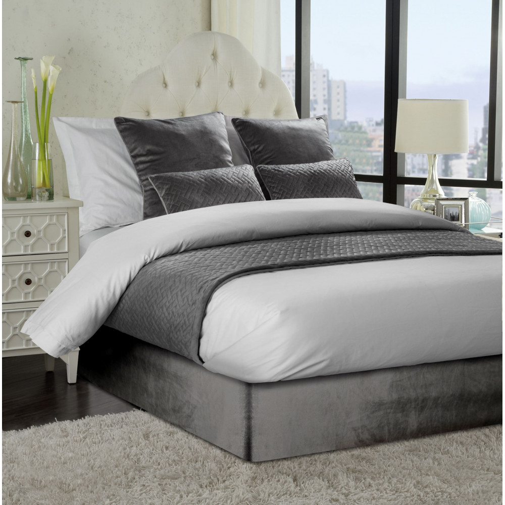 Smooth Velvet Divan Bed Base Wrap in Charcoal Grey