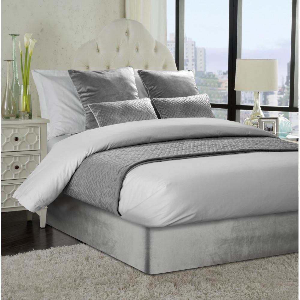 Smooth Velvet Divan Bed Base Wrap in Silver Grey