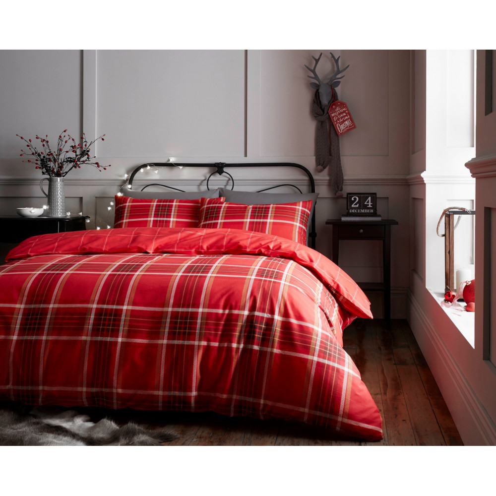 Cotton Rich Check Design Duvet Cover Set in Red