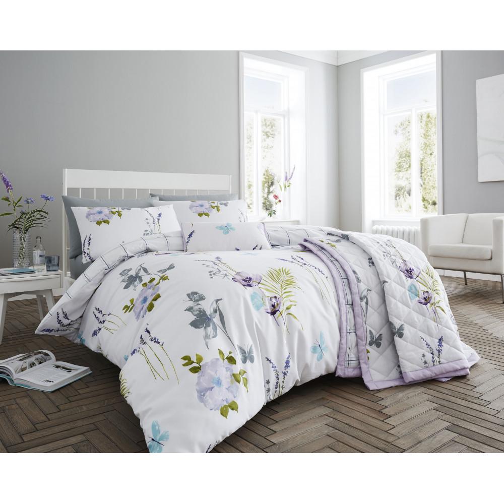 200 Thread Count Floral Duvet Cover Set Lilac & Mauve