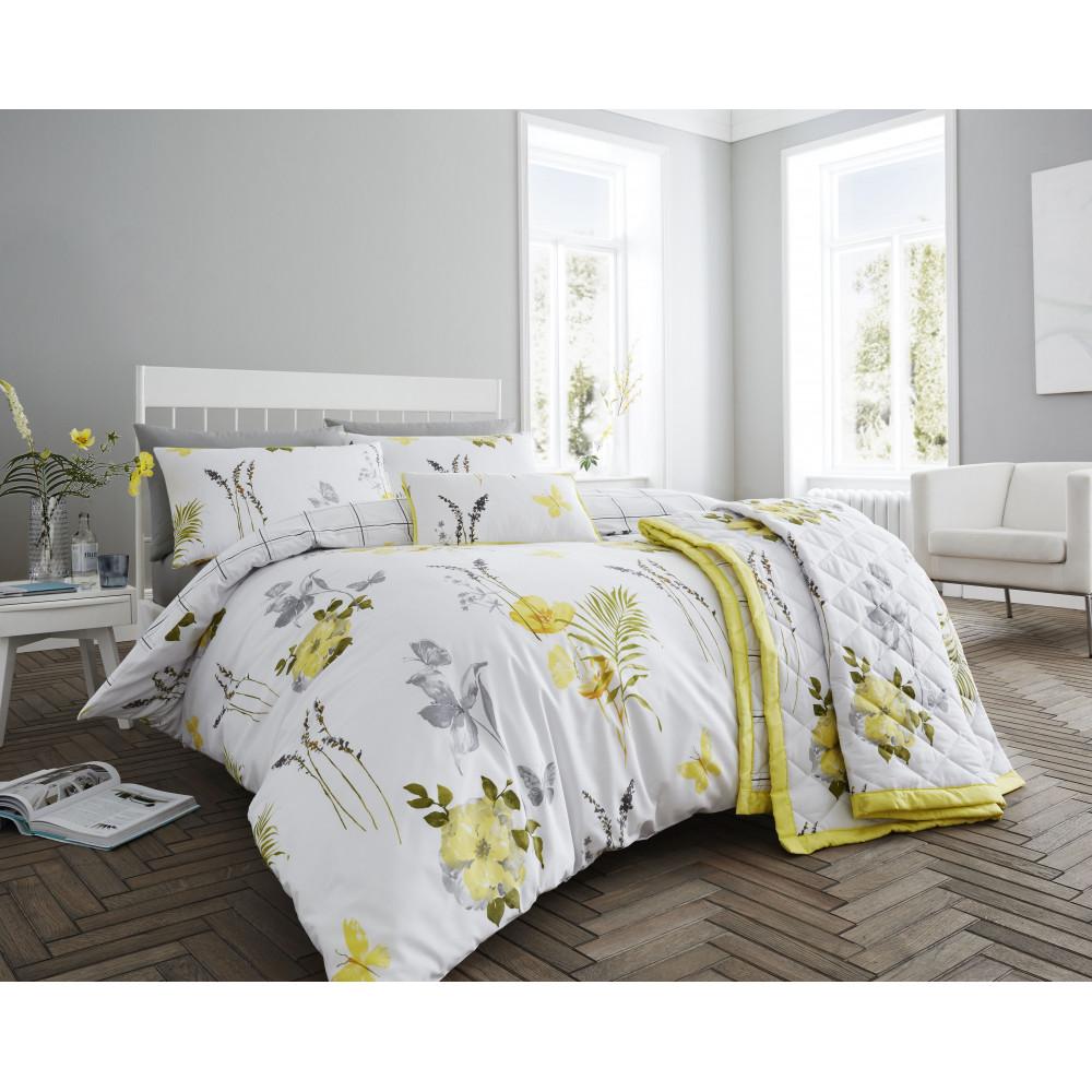 200 Thread Count Floral Duvet Cover Set Lemon Yellow