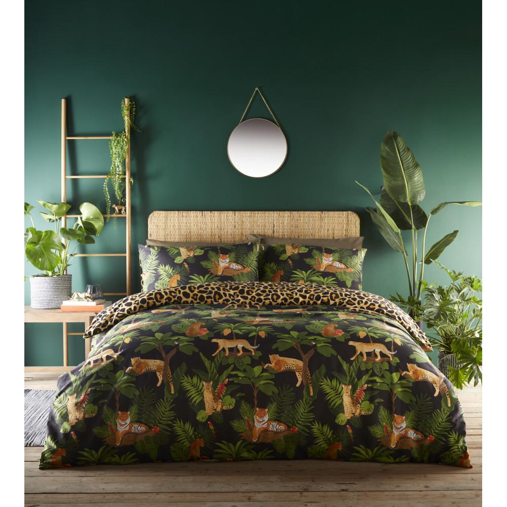 Jungle Cats Design Duvet Cover Set Green