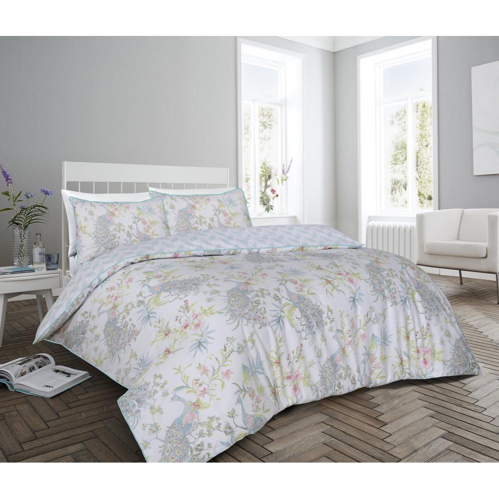 200 Thread Count Floral Peacock Design Duvet Cover Set in Duck Egg