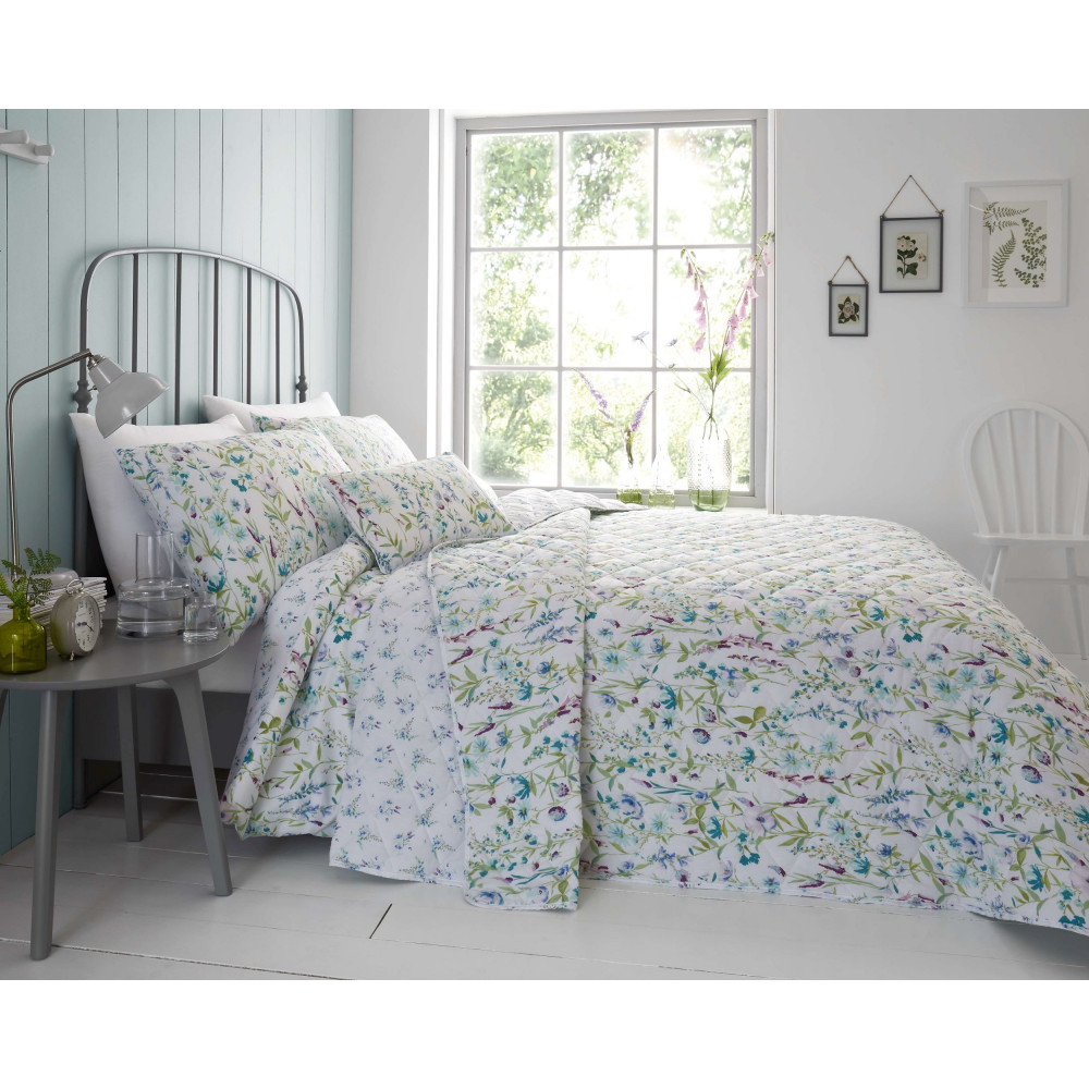 Cotton Rich Phoebe Floral Bedspread in Duck Egg