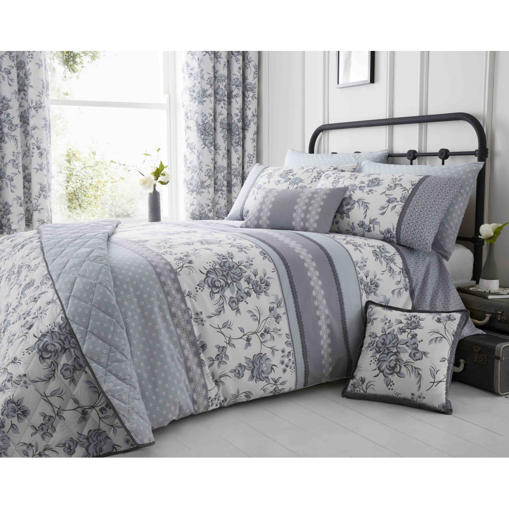 200 Thread Count Floral Duvet Cover Set Grey & White
