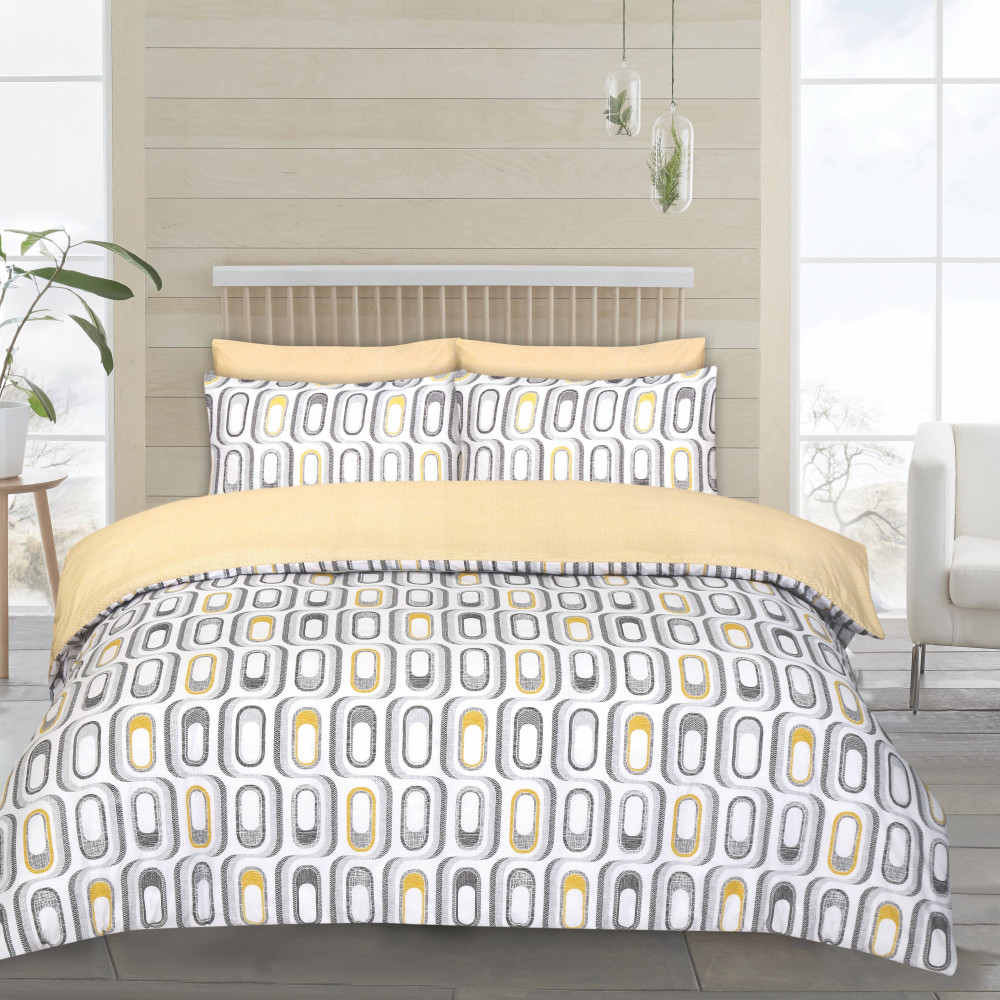 Twin Pack Duvet Cover Sets Retro Yellow & Grey