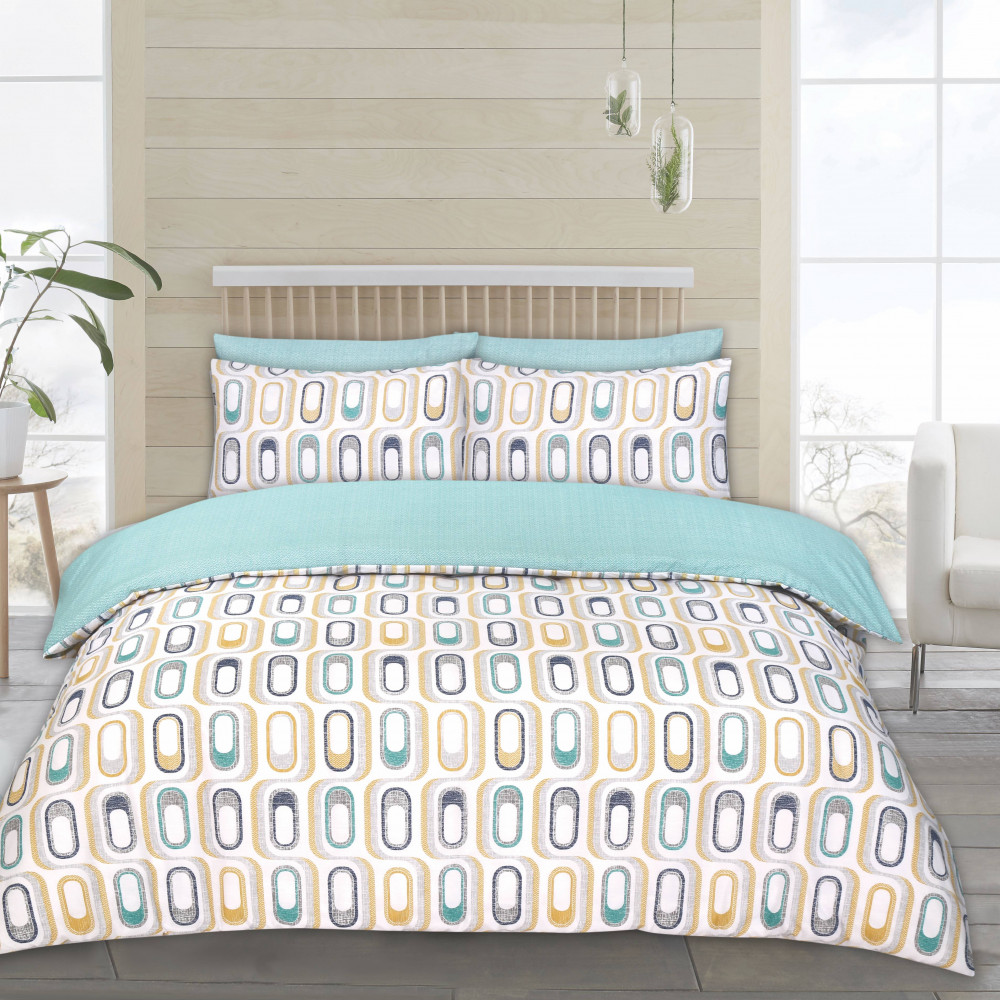 Twin Pack Duvet Cover Sets Retro Teal & Grey